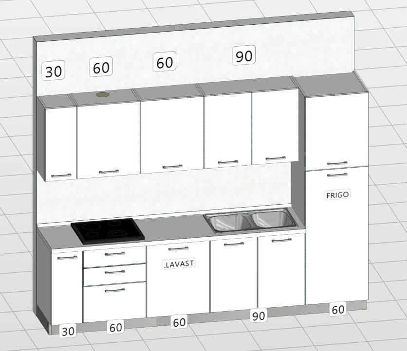 Cucina ml 3 00 con lavastoviglie - Cucine lineari 3 30 ...