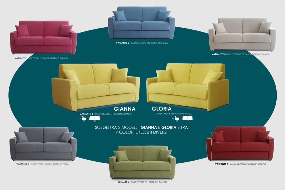 Divani letto vari colori e misure for Misure divani letto