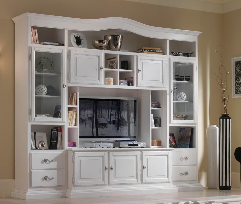 soggiorno classico laccato bianco con base porta tv