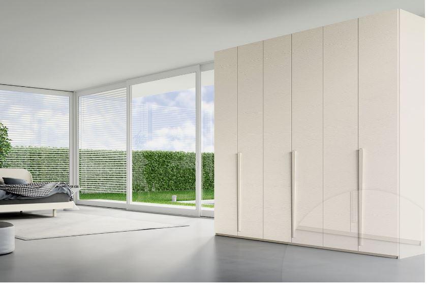 armadio sei ante battente laccate colore bianco opaco