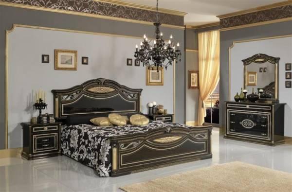 camera da letto modello marika gold nero e oro