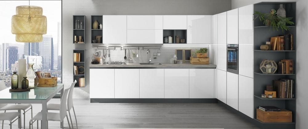 cucina ad angolo laminato bianco