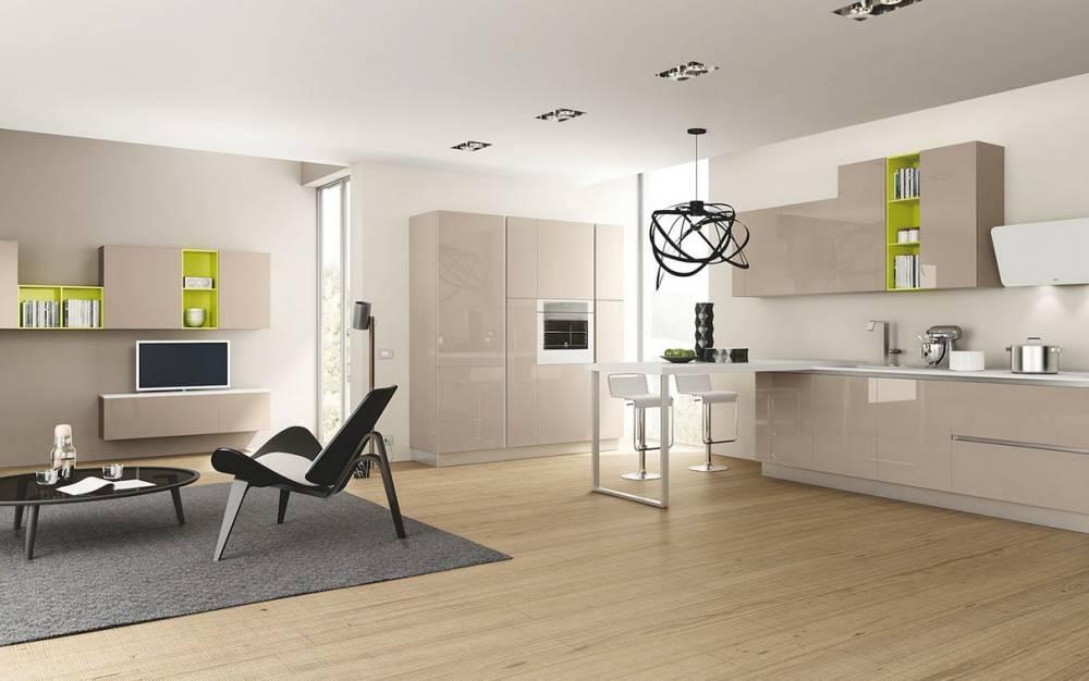 cucina e zona living anta lucida