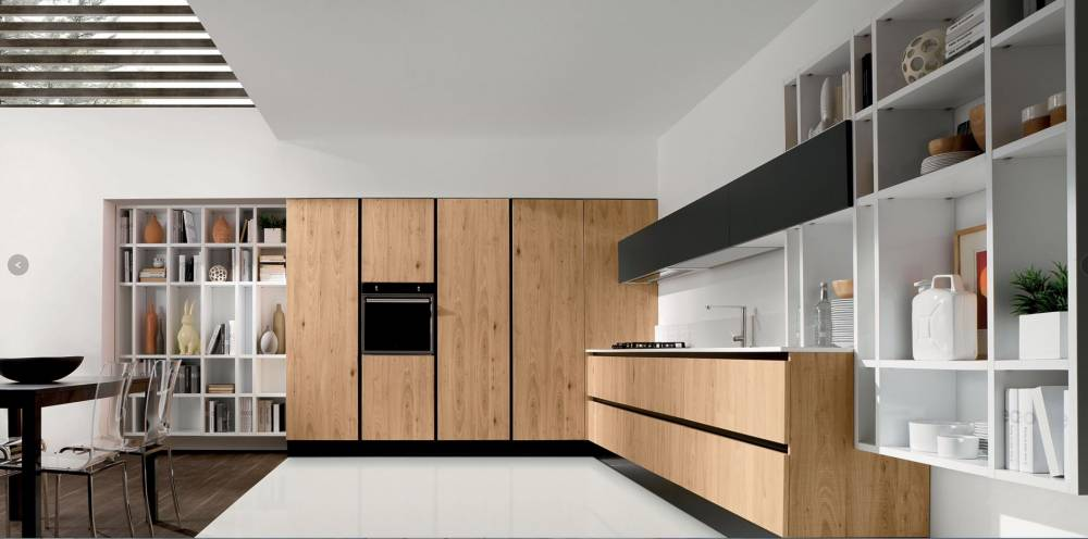 cucina con top materiale sintetico