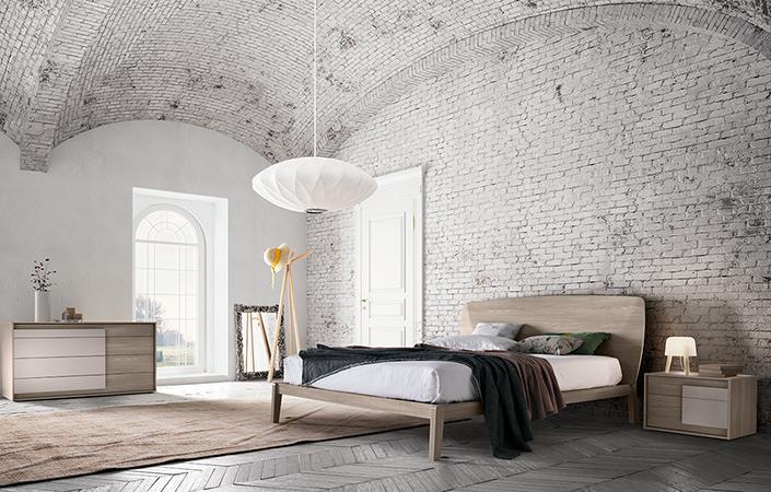 letto moderno testiera legno curvato