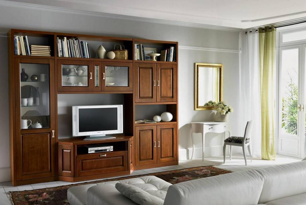 mobile da soggiorno classico in pioppo