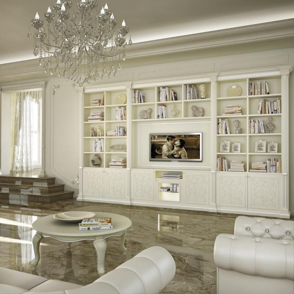 Parete soggiorno in stile colore bianco - Arredamento parete soggiorno ...