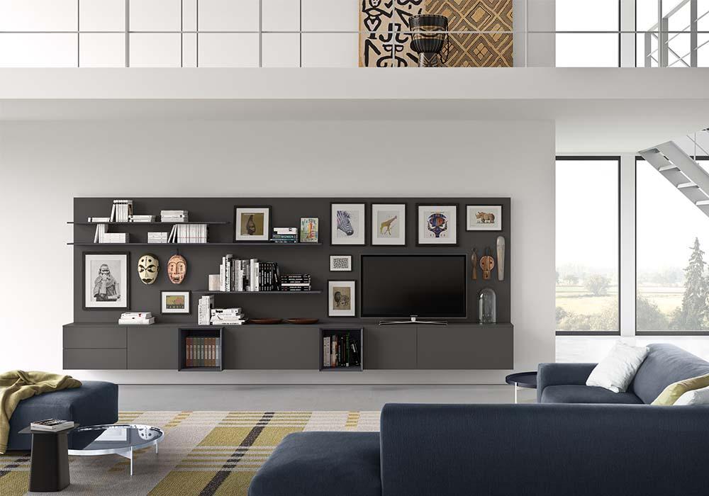 Soggiorni moderni pareti componibili librerie madie for Soggiorni moderni lissone