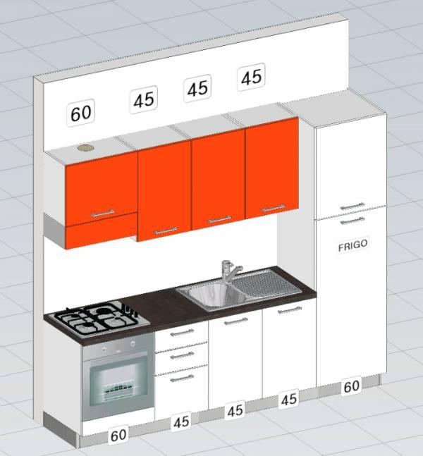 progetto cucina moderna metri lineari 2,55