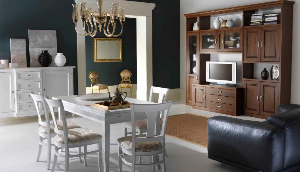 soggiorno classico ante in vetro e legno