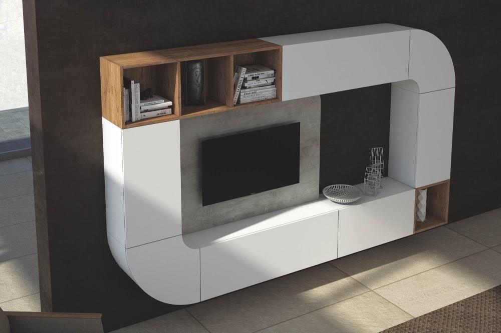 soggiorno sospeso laccato bianco per creare nuove geometrie