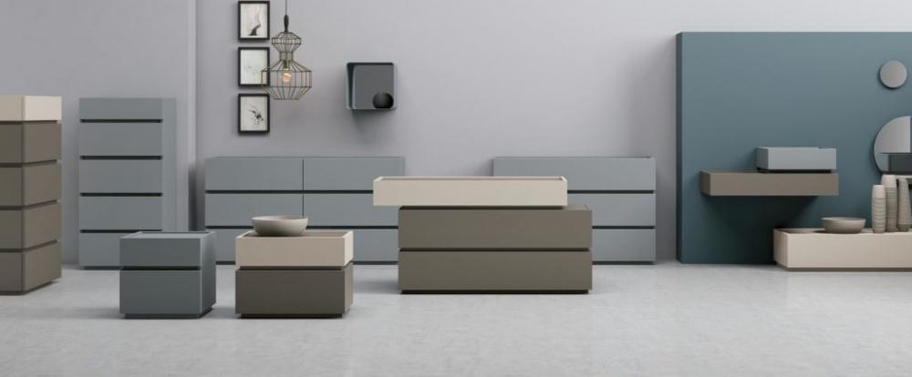 Tomasella mobili contenitori camera da letto.Giochi di volumi
